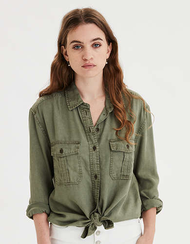 AE Oversized Military Button-Up Shirt