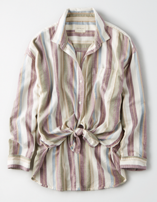 AE Полосатая рубашка оверсайз на пуговицах