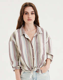 AE Oversized Striped Button Up Shirt