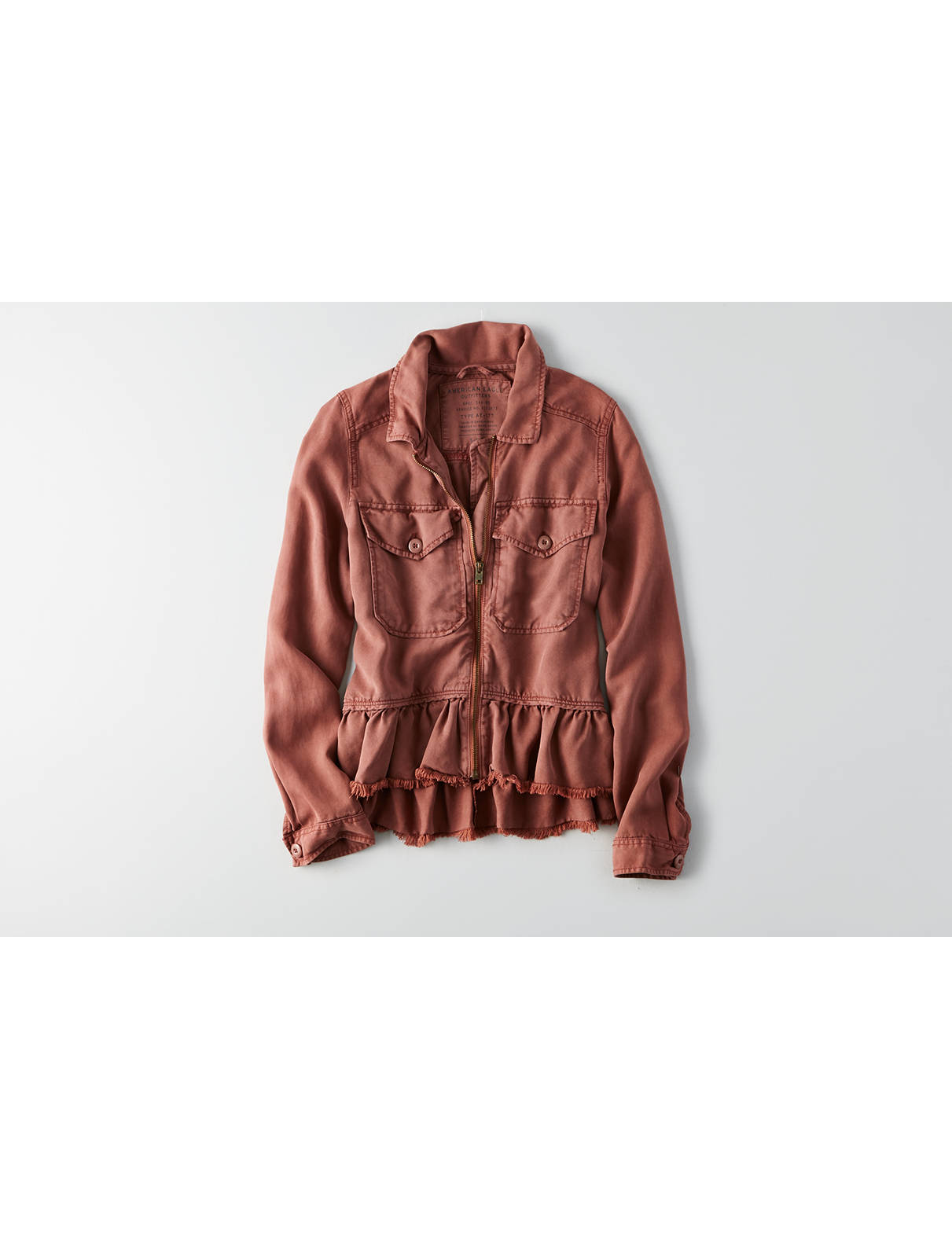 Display product reviews for AEO Ruffle Hem Military Jacket