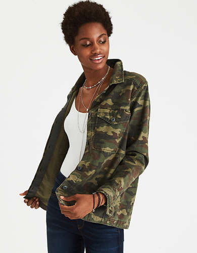 AE Embroidered Camo Shirt Jacket