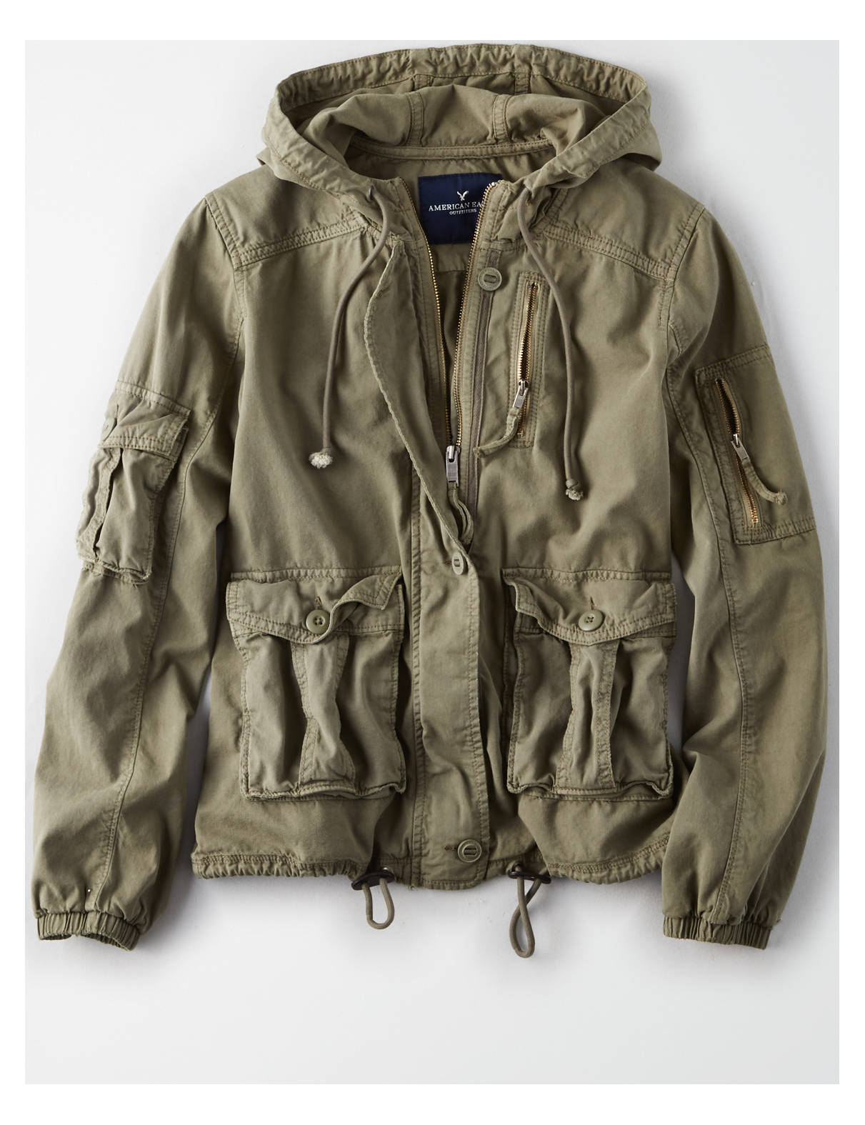 Display product reviews for AE Cinched Tencel Military Jacket