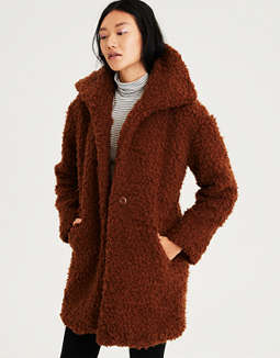 Ae Faux Sherpa Cocoon Coat by American Eagle Outfitters