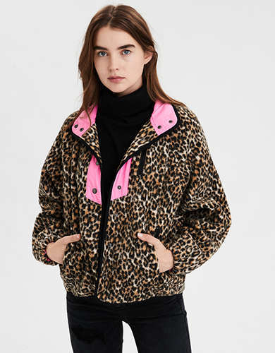 AE Fleece Leopard Print Jacket