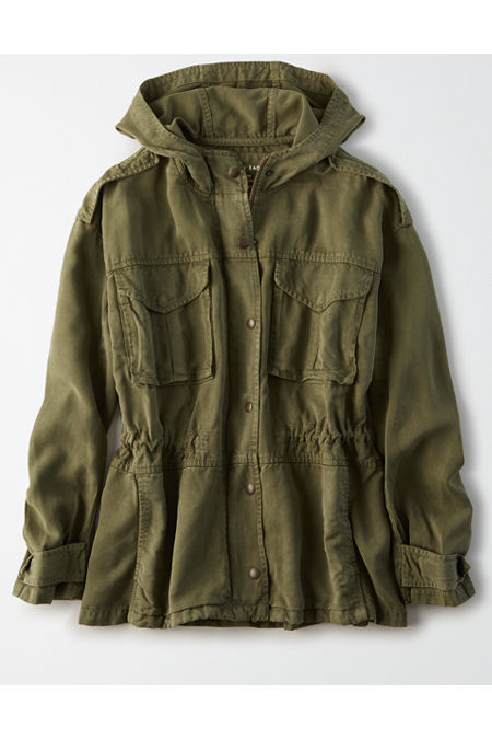 Men's Vintage Jackets & Coats AE Hooded Military Jacket Womens Olive S $39.97 AT vintagedancer.com