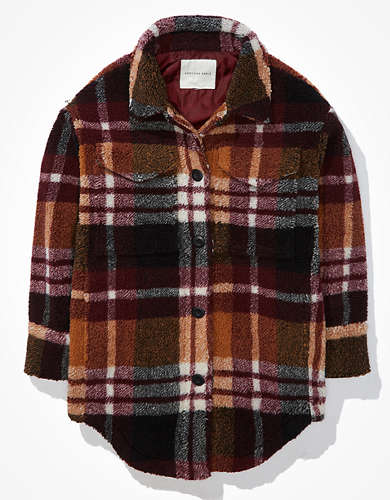 AE Sherpa Plaid Shirt Jacket