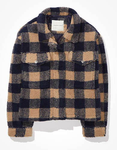 AE Plaid Sherpa Zip-Up Jacket