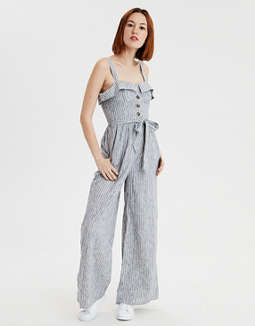 Ae Tie Waist Striped Jumpsuit by American Eagle Outfitters