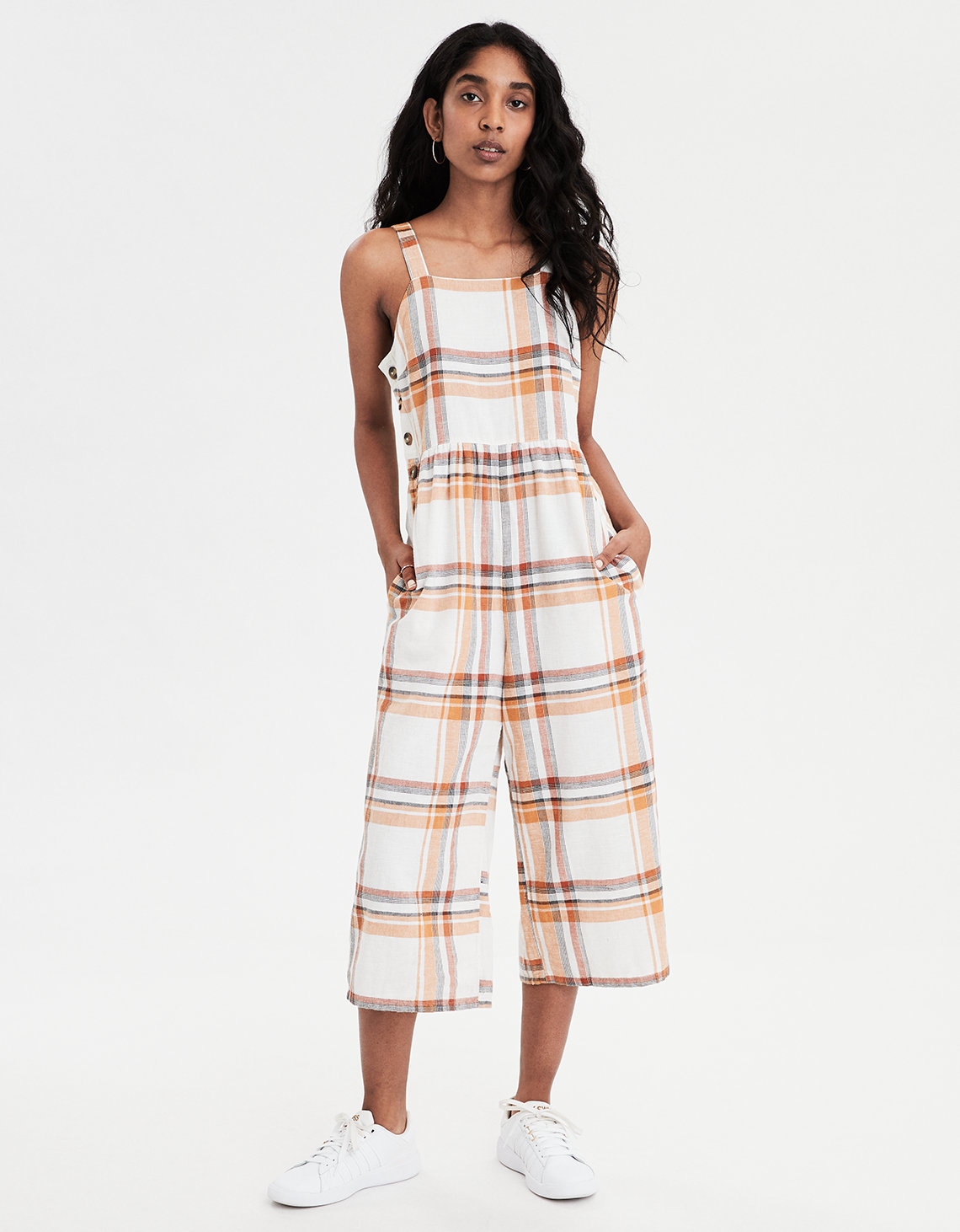 162294c59e1 AE Plaid Overall Jumpsuit. Placeholder image. Product Image
