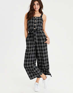 AE Plaid Button Front Jumpsuit