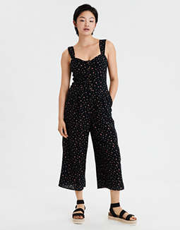 AE Printed Button Front Jumpsuit