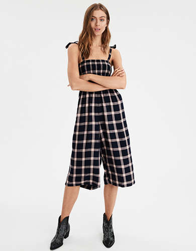 AE Plaid Tie Strap Jumpsuit