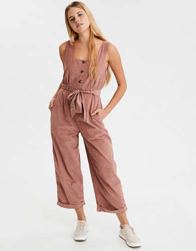 AE Corduroy Button Front Jumpsuit