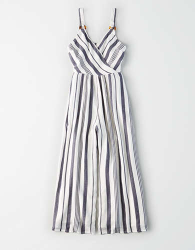 AE Striped Wrap Front Jumpsuit