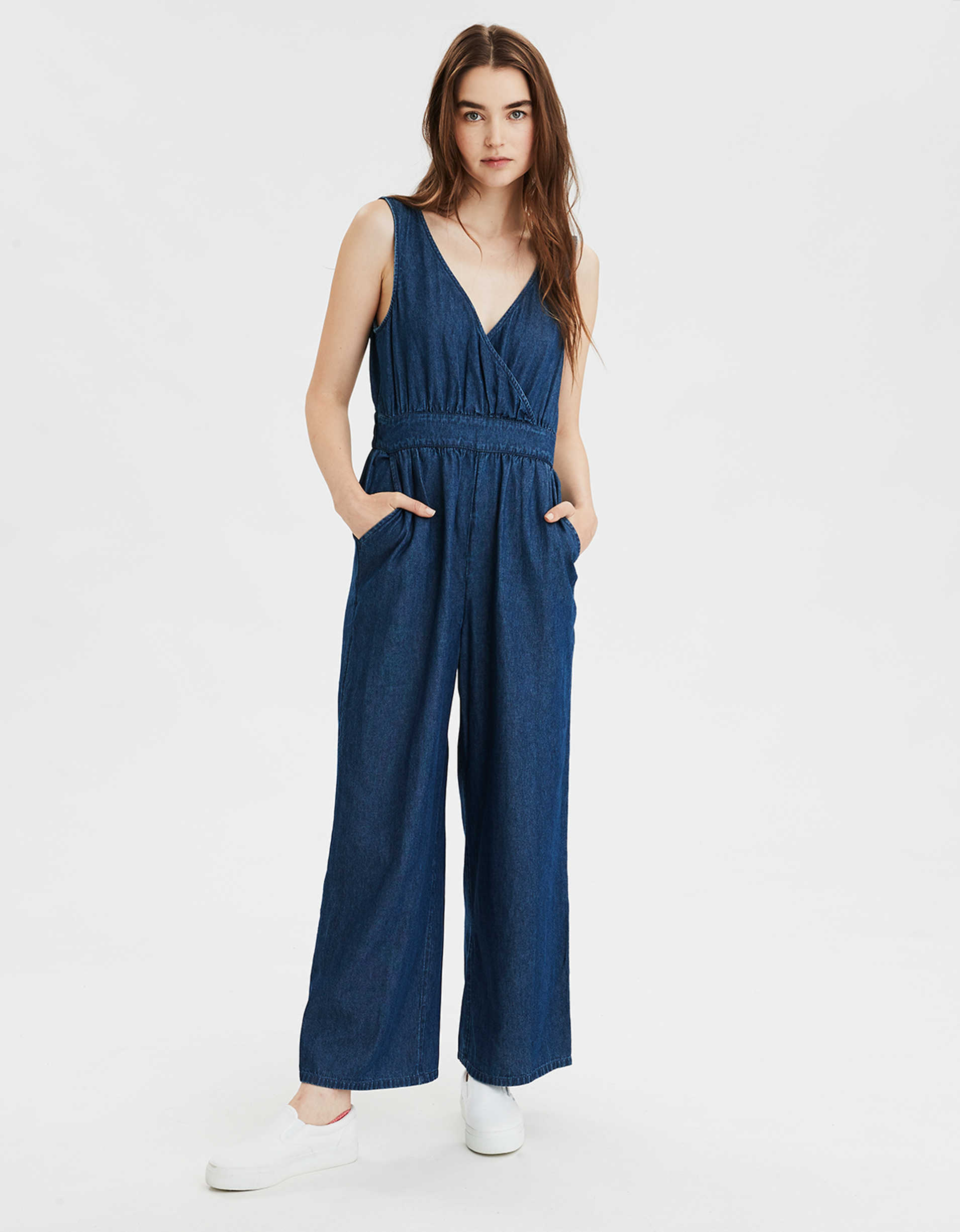 AE Denim V-Neck Jumpsuit