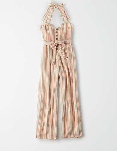 AE Striped Tie Front Halter Jumpsuit