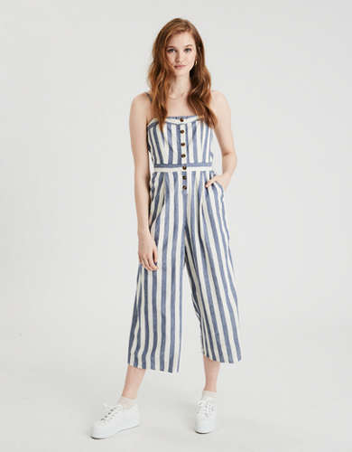 AE Striped Button Front Tube Jumpsuit