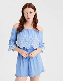 Ae Off The Shoulder Overlay Romper by American Eagle Outfitters