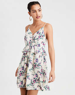 Ae Lace Up Ruffle Dress by American Eagle Outfitters