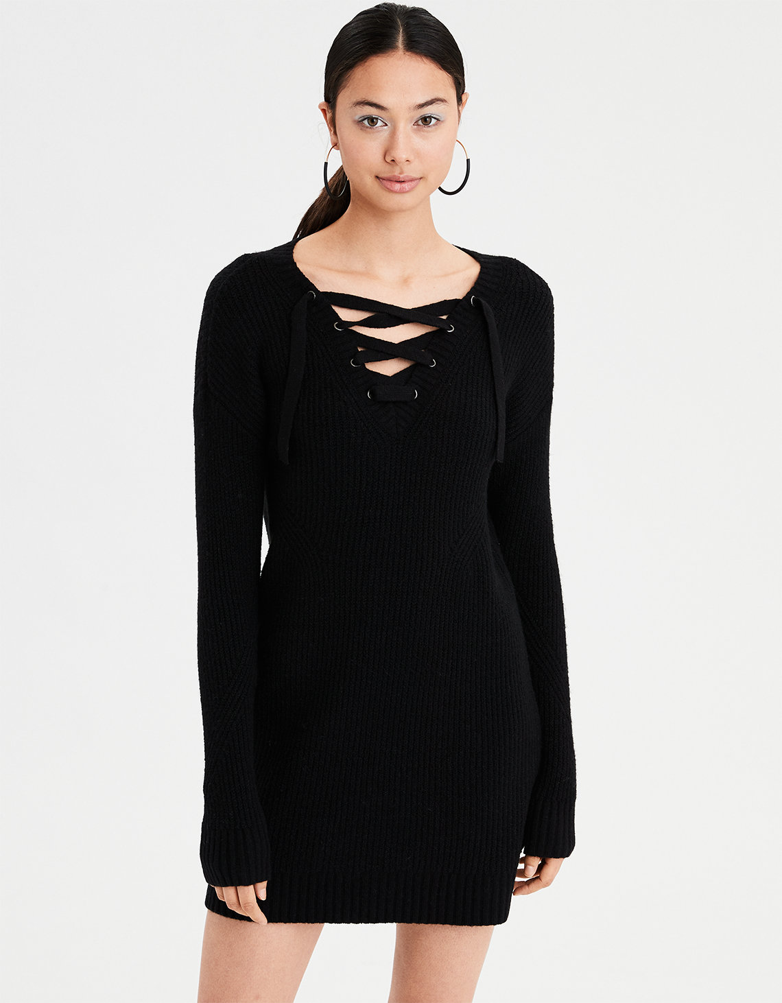 e54dd2eadf AE Lace-Up Sweater Dress. Placeholder image. Product Image
