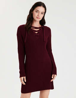 ae-lace-up-sweater-dress by american-eagle-outfitters