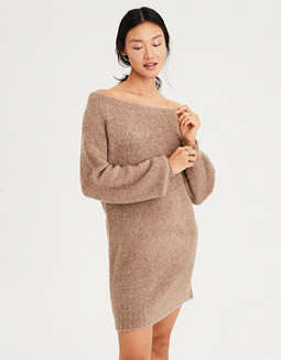 AE One Shoulder Boucle Sweater Dress