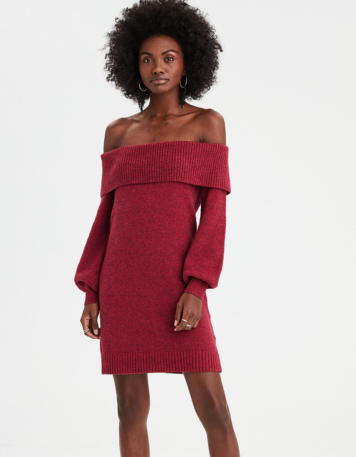 a22160c9d0a AE Off-the-Shoulder Sweater Dress. Placeholder image. Product Image