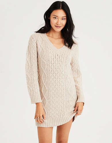 b84b02a739 AE V-Neck Cable Knit Sweater Dress