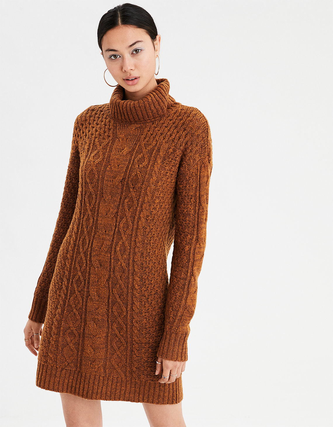 f5bae7b544a7 AE Turtleneck Cable Knit Sweater Dress. Placeholder image. Product Image