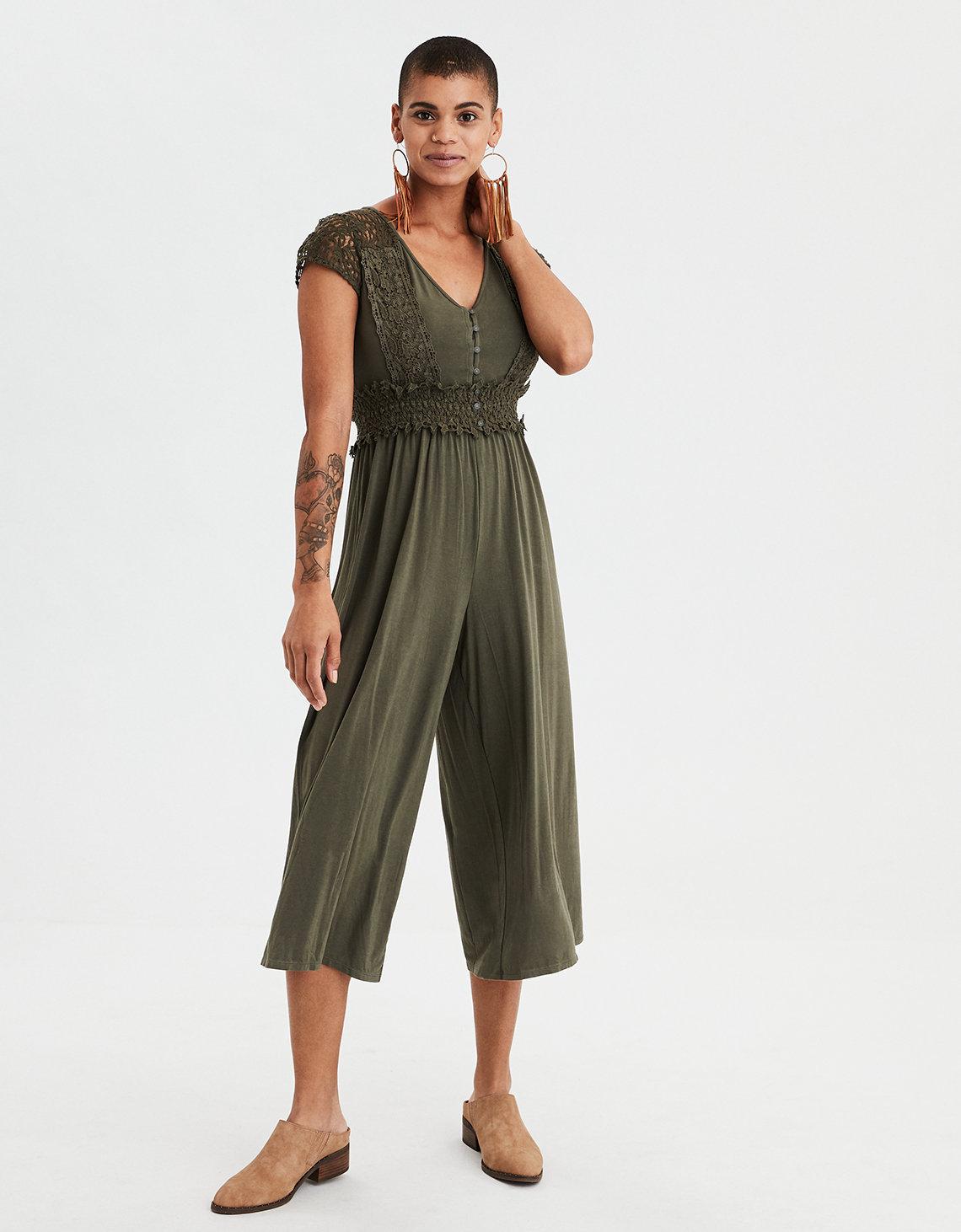 087c39287b8 AE Knit Lace Culotte Jumpsuit