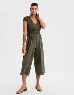Ae Knit Lace Culotte Jumpsuit by American Eagle Outfitters