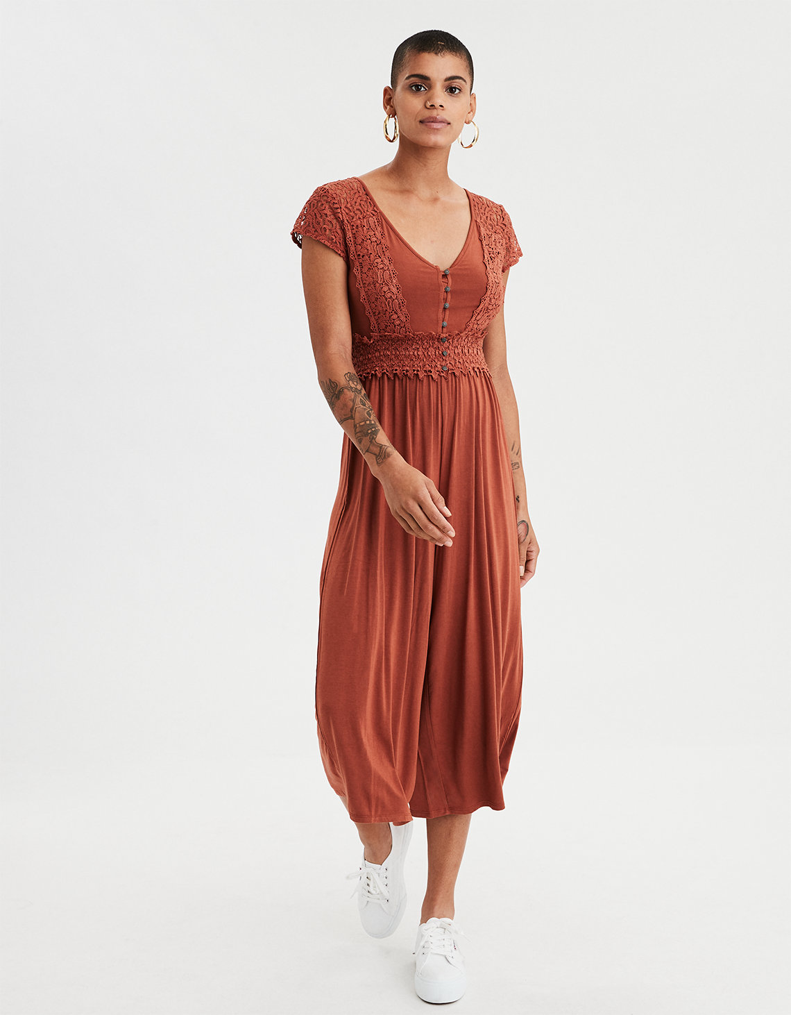 4473331eeb11 AE Knit Lace Culotte Jumpsuit. Placeholder image. Product Image