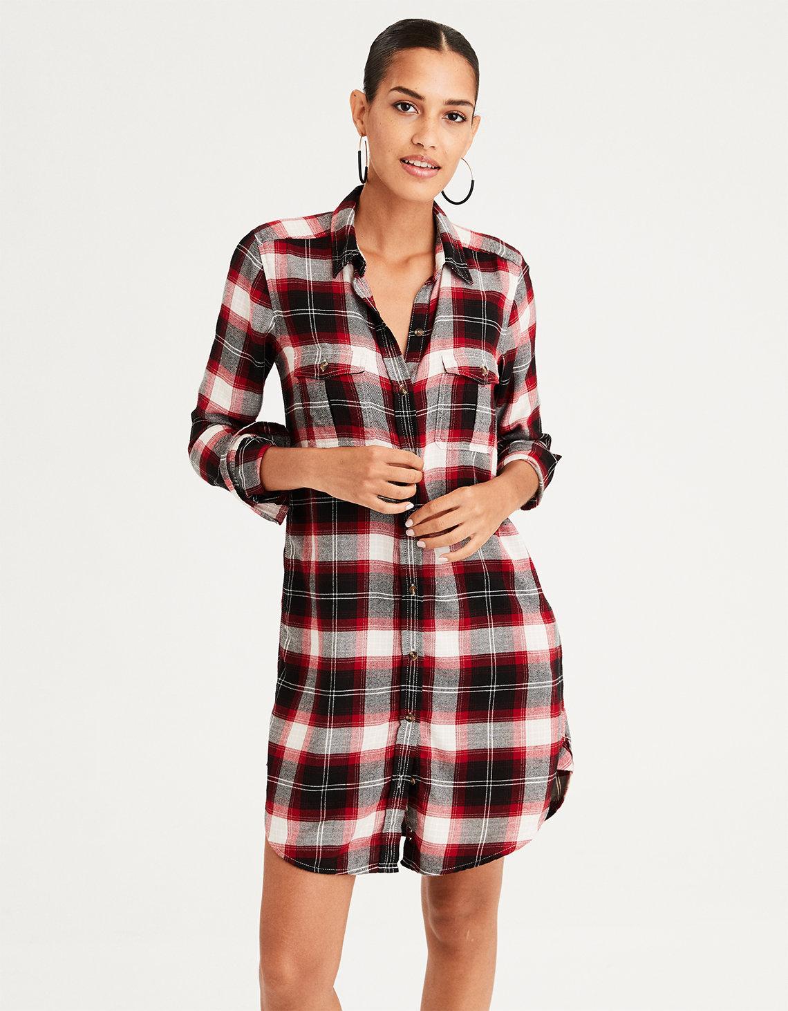 bf09fe8c4 AE Plaid Button Front Shirt Dress