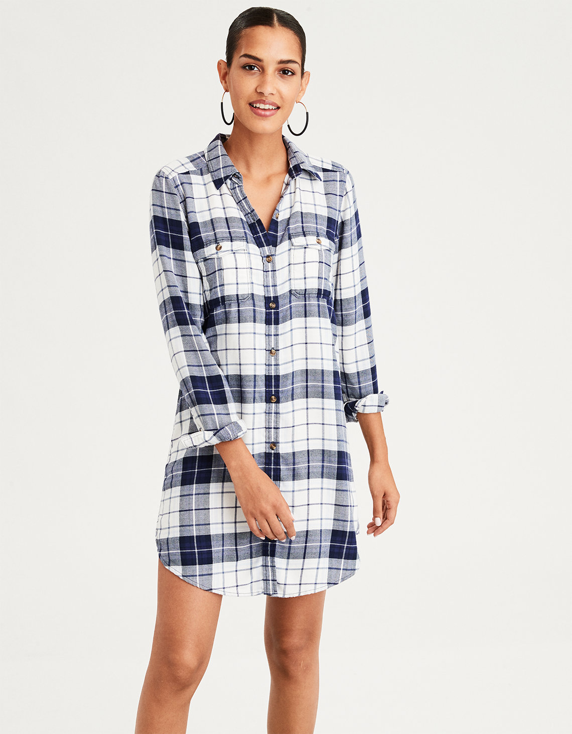 2948a7337f AE Plaid Button Front Shirt Dress. Placeholder image. Product Image