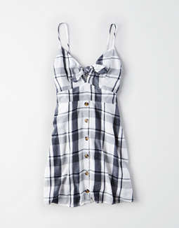 Ae Plaid Tie Front Strappy Dress by American Eagle Outfitters