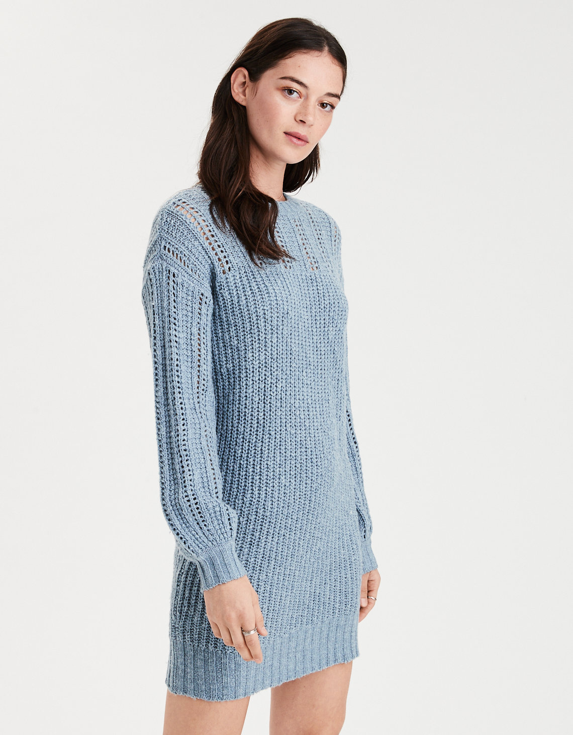 AE Mix Stitch Balloon Sleeve Sweater Dress