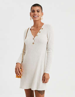 Ae Ribbed Henley Sweater Dress by American Eagle Outfitters