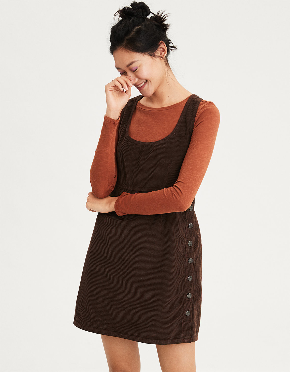 ce11cd527da AE Side Button Corduroy Dress. Placeholder image. Product Image