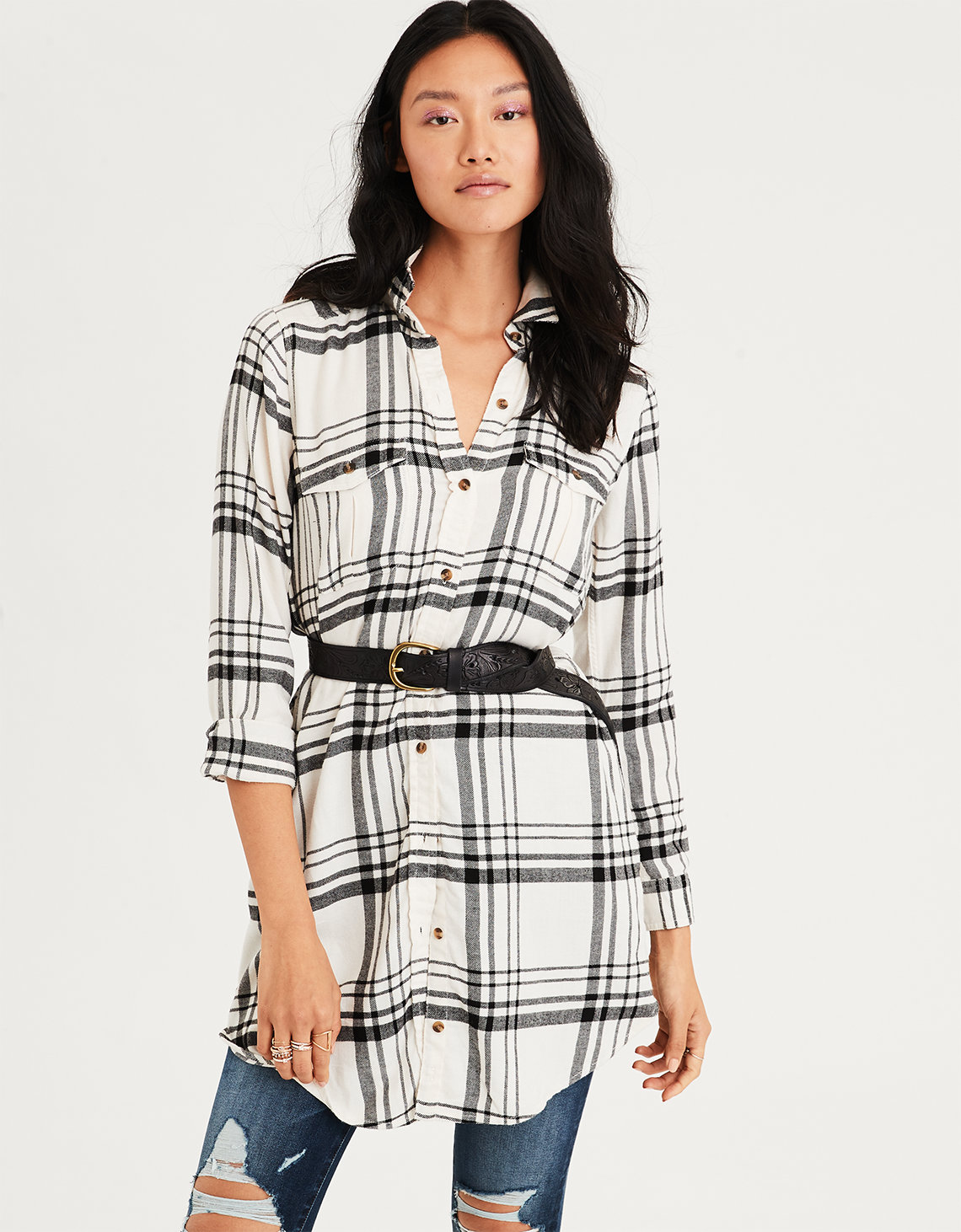 7bfab04cff4 AE Plaid Button Down Shirt Dress, Cream | American Eagle Outfitters
