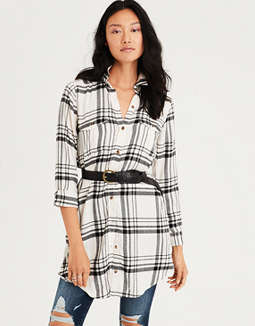 AE Plaid Button Down Shirt Dress