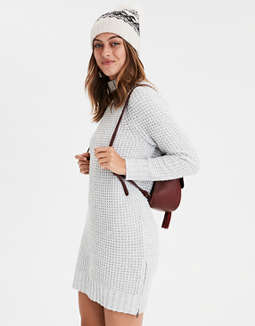 Ae Waffle Mock Neck Sweater Dress by American Eagle Outfitters