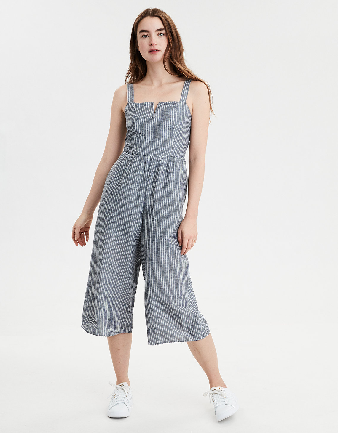 8778fabb9e2 AE V Neck Striped Jumpsuit. Placeholder image. Product Image