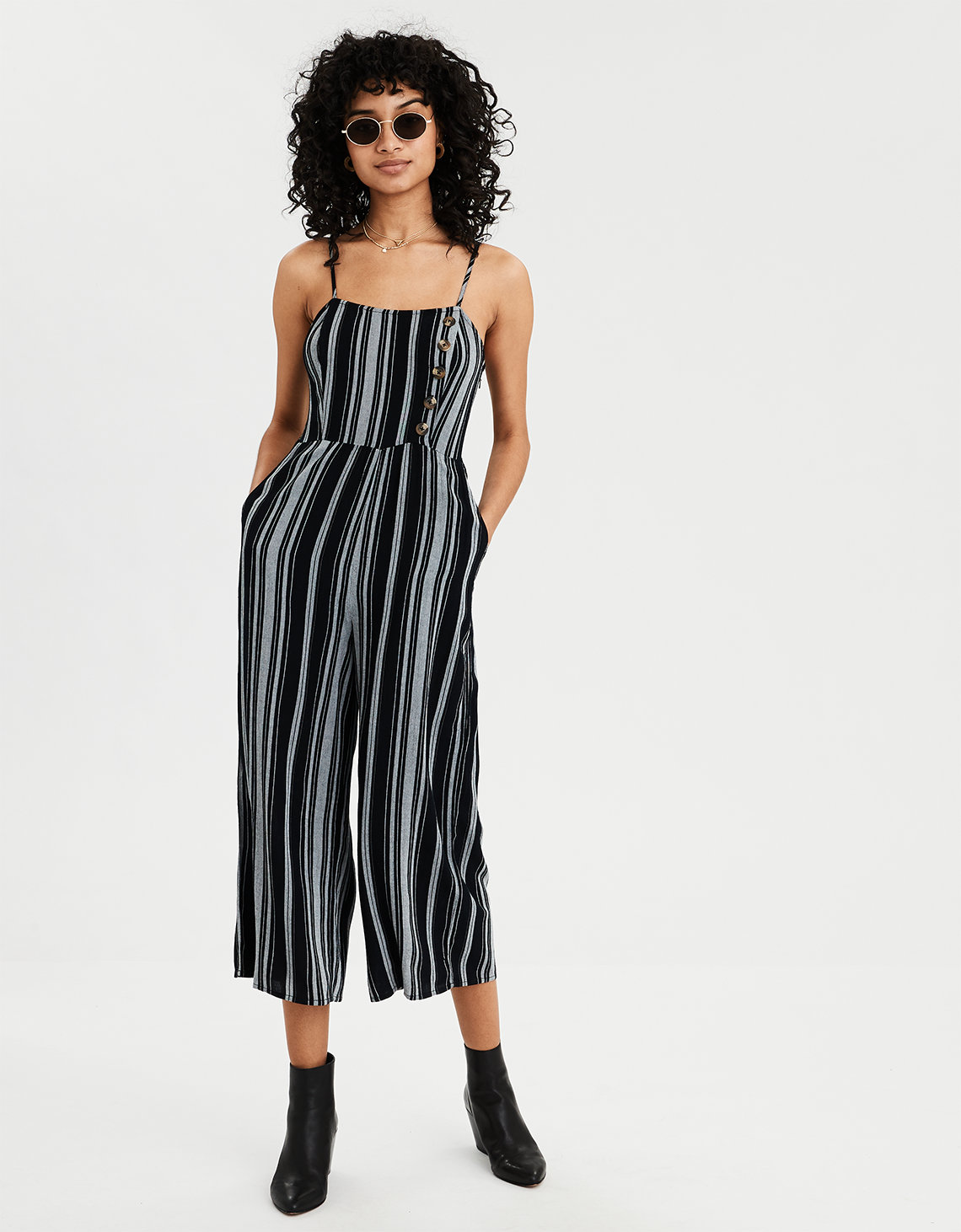 bf7e2c88c41 AE Striped Button Front Jumpsuit. Placeholder image. Product Image