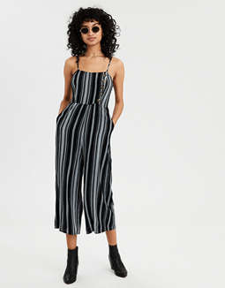 Ae Striped Button Front Jumpsuit by American Eagle Outfitters
