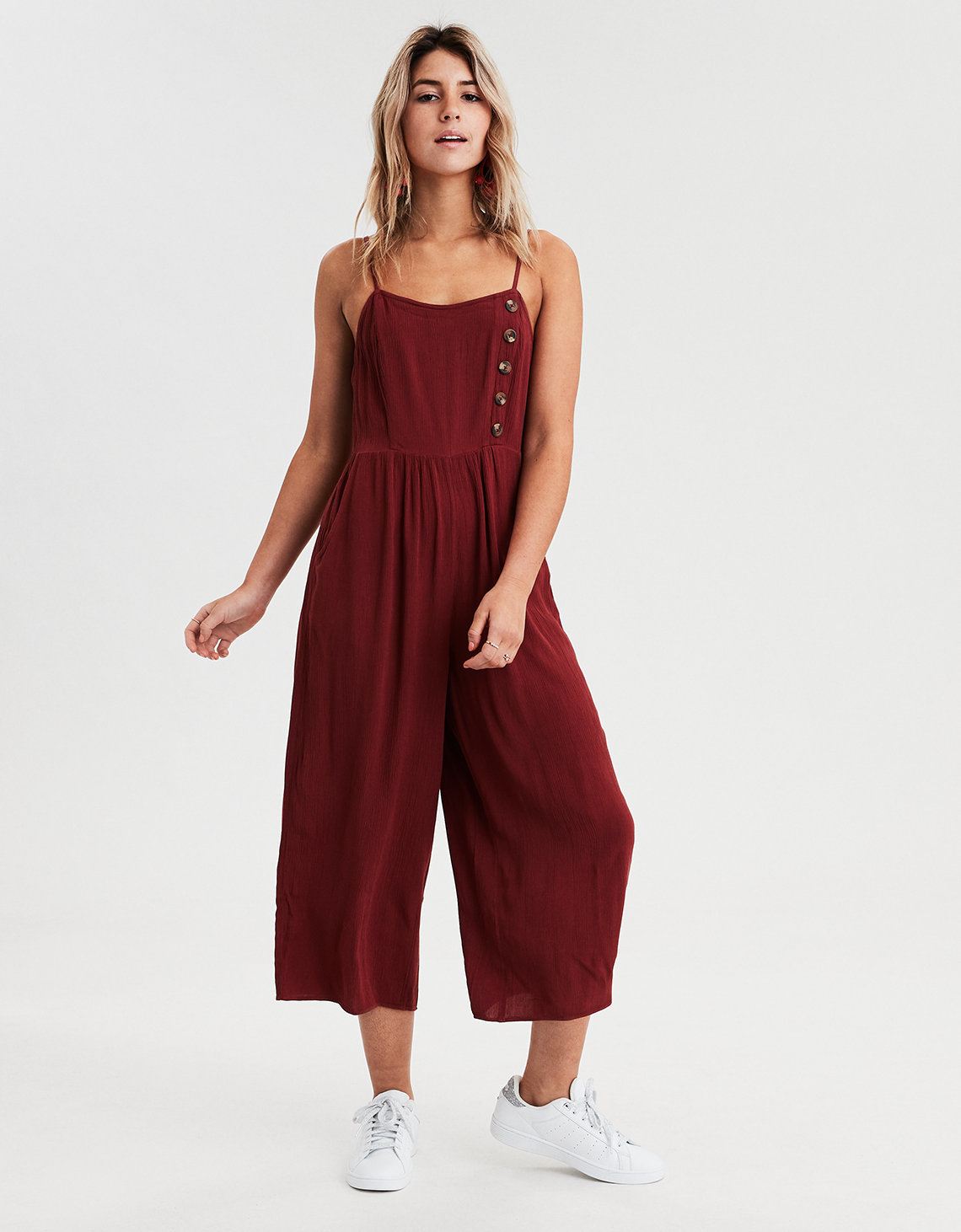ac7d792f6e62 AE Striped Button Front Jumpsuit. Placeholder image. Product Image