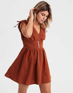 AE V-Neck Cinch Sleeve Dress