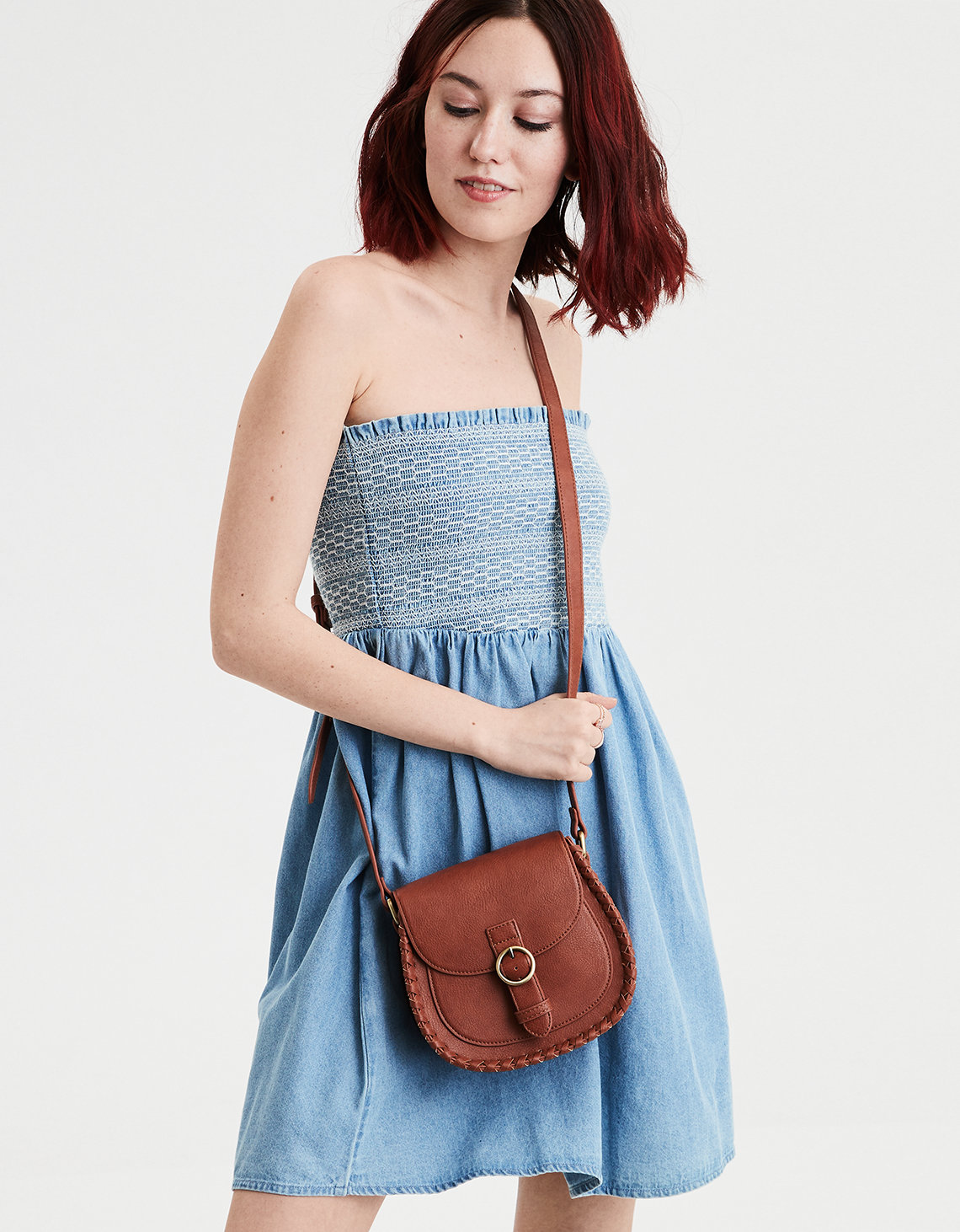 AE Denim Smocked Tube Dress