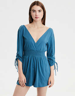 AE Knit Ruched Sleeve Romper