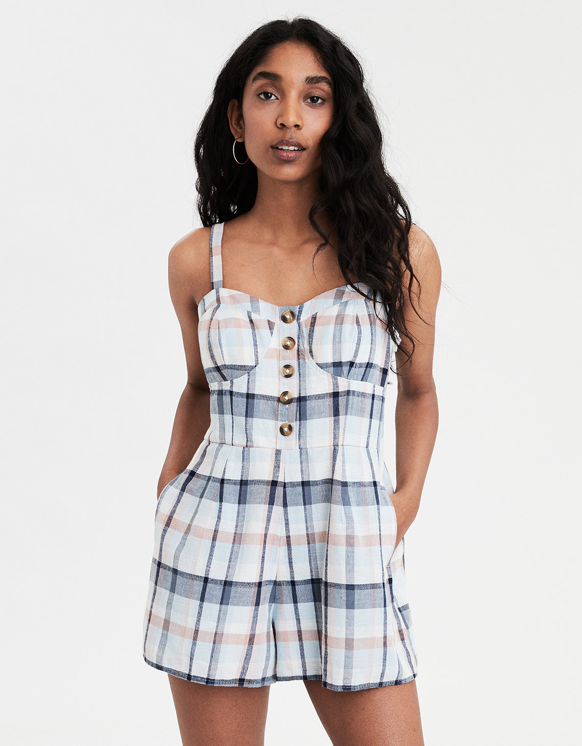 8a7553924ba8 AE Plaid Corset Romper. Placeholder image. Product Image