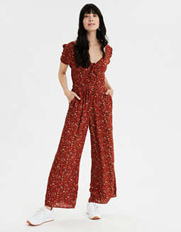 AE Puff Sleeve Tie Front Jumpsuit